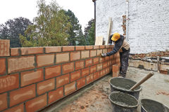 Construction of a wall for new room Royalty Free Stock Photos