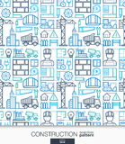 Construction wallpaper. Build connected seamless pattern. Tiling textures with thin line integrated web icons set Royalty Free Stock Photography