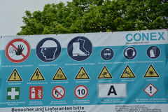 Construction warning german signs with many safety related symbols very detailed construction warning sign Stock Photo