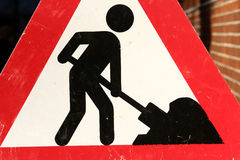 Construction warning sign stock images