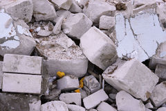 Construction waste. A pile of construction waste, closeup. Building rubble and stones. Stock Images