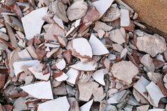 Construction waste. A pile of construction waste, closeup. Stock Photo