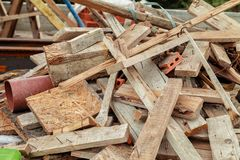 Construction waste on the roof of the house under construction Royalty Free Stock Images