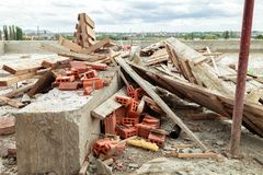 Construction waste on the roof of the house under construction Stock Image