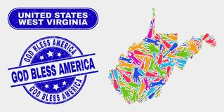 Construction West Virginia State Map and Scratched God Bless America Seals. Production West Virginia State map and blue God Bless America grunge seal. Bright stock illustration