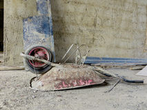 Construction wheelbarrow upsidedown Royalty Free Stock Photography