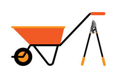 Construction wheelbarrow vector illustration. Stock Images