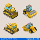 Construction wheeled combine vector flat isometric vehicles. Flat 3d isometric style modern road highway surface making construction site wheeled track vehicles Royalty Free Stock Photography