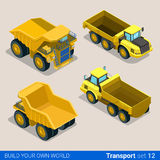 Construction wheeled: vector flat isometric vehicles. Flat 3d isometric style modern road highway surface making construction site wheeled track vehicles Stock Image