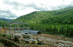 Construction in wild nature Stock Photography