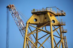 Construction of Wind Turbine Base Close-up stock photography