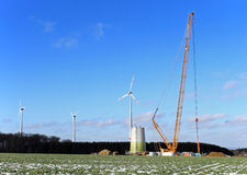 Construction of wind turbine with crane Stock Image