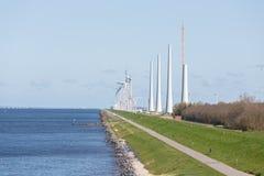 Construction of a windfarm along the Dutch coast Stock Image