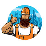 Construction woker. Builder in the orange helmet. Cartoon illustartion Royalty Free Stock Images