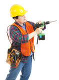 Construction Woman with Drill Royalty Free Stock Photography