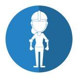 Construction woman helmet gloves shadow Royalty Free Stock Photos
