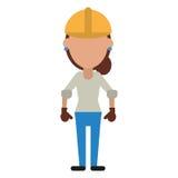 Construction woman helmet gloves Stock Photo