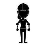 Construction woman helmet pictogram Royalty Free Stock Photo