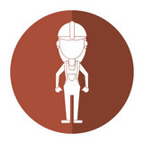 Construction woman with overalls uniform shadow stock illustration