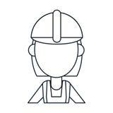 Construction woman short hair helmet thin line Stock Photos