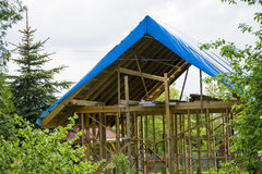 Construction of a wood building Royalty Free Stock Photo