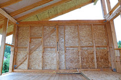 Construction of wood frame walls Royalty Free Stock Photography