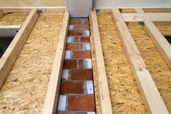 Construction of wood frame walls of a new country house site. Un Royalty Free Stock Photos