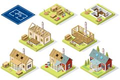 Wood roof structure construction set. Construction of wood roof and walls structure. Isometric vector design. Large set detailed collection Stock Images