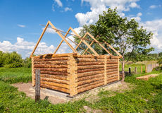 Construction of wooden bath house in Russian village Royalty Free Stock Image