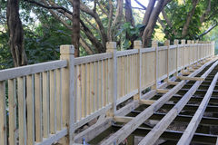 Construction of the wooden bridge Royalty Free Stock Images
