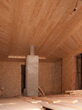 Construction of the wooden ceiling Stock Photo