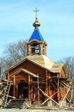Construction of a wooden church. In honor of the martyr Anatoly Kovel in the Ukrainian village Stock Images