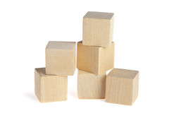 Construction from wooden cubes Stock Photo