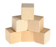 Construction from wooden cubes Stock Photography