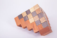 Construction of wooden cubes Royalty Free Stock Photography