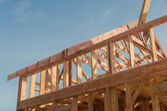 Construction of wooden frame house. Base, frame of a wooden house, racks and partitions Royalty Free Stock Photography