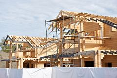 Construction of wooden house. Construction of a wooden house royalty free stock images