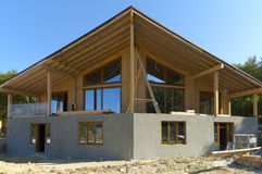 Construction of a wooden house Royalty Free Stock Photography