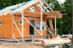 Construction of a wooden house Stock Images