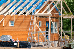 Construction of a wooden house Royalty Free Stock Image