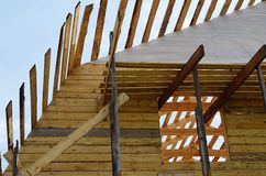 Construction of the wooden house Royalty Free Stock Photo