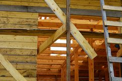 Construction of the wooden house Royalty Free Stock Images