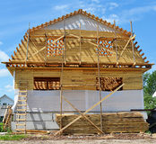 Construction of the wooden house Stock Photography