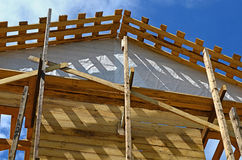 Construction of the wooden house Stock Photos