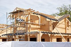 Construction of wooden house. Construction of a wooden house royalty free stock image