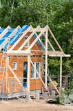 Construction of a wooden house Royalty Free Stock Photo
