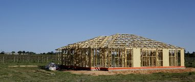Construction Of Wooden House Frame. Stock Photos