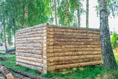 Construction of a wooden house, log cabin Stock Photo