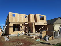 Construction of a wooden house. This is a neighborhood in Vancouver Washington where new houses are being built royalty free stock photography