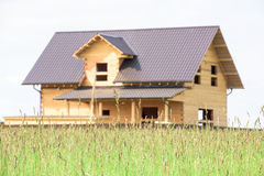 Construction of a wooden house Stock Photo